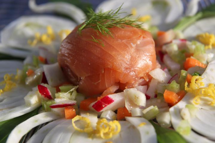 """Lachsforelle """"gefüllt"""" mit Salat auf Fenchelscheiben"""